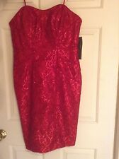 Theia Red Sequin Lace Strapless Bias Satin Piping Knee Length Dress NWT