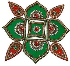 Rangoli Handicraft Jewel Stone Attractive Decorations (Dark Green & Maroon)