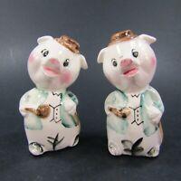 Vintage Salt Pepper Shakers Set Anthropomorphic Pigs Pipes Bowler Hat Japan *373