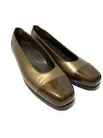 Women's Size 10 SAS Slip On Dress Shoes Gold/Brown Narrow Width