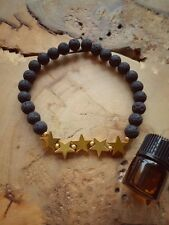 Diffuser Aromatherapy Bracelet Lavastone Gold Hematite Stars With Relaxing Oil