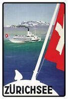 Zürichsee Suisse Panneau Métallique Plaque Voûté Étain Signer 20 X 30 CM