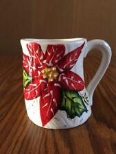 Ganz Bella Casa Christmas Mug Woodgrain Poinsettia Speckle Coffee Mug Cup Large