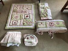 KidsLine Pink & Green Plush Ladybug  8 Piece Nursery Crib Bedding Set
