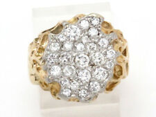 Right Hand Ring 1.06ct 10.9g 14k Yellow Gold Round Diamond Cluster