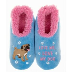 Ladies Slipper Snoozies! Blue Love Me Love My Dog Design Ideal  Gift