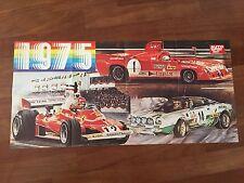 POSTER MANIFESTO 1975 FERRARI NIKI LAUDA,LANCIA STRATOS,ALFA ROMEO AUTO CAR RACE
