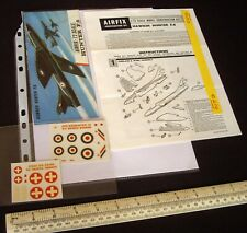 *1960s/70s Airfix Instructions & Decals (No Kit) Hawker Hunter RAF & Swiss AF