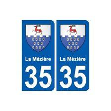 35 La Mézière blason autocollant plaque stickers ville arrondis