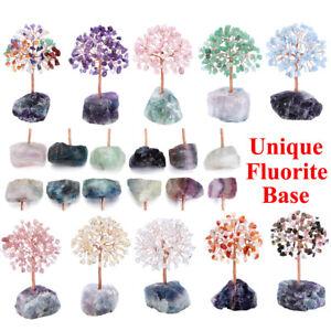 Healing Crystal Tree + Natural Rough Raw Fluorite Base Reiki Chakra Home Decor