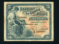 Belgian Congo:P-13Ad,5 Francs, 1947 * Woman W/ Child * VF *