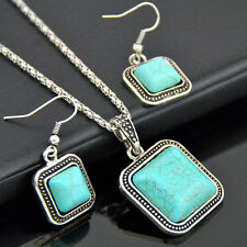 Fashion Square Turquoise Pendant Necklace Earrings Set