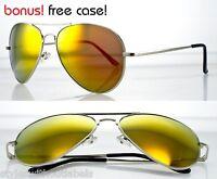 Aviator Full FIRE Mirror Lens Sunglasses Spring Hinge