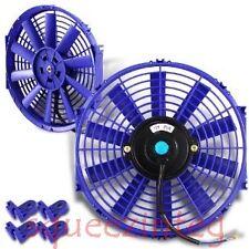 "BLUE 12"" UNIVERSAL SLIM FAN PUSH PULL ELECTRIC RADIATOR COOLING 12V 1730 CFM NEW"