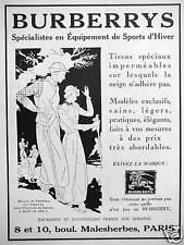 PUBLICITÉ BURBERRYS SPÉCIALISTES EN ÉQUIPEMENTS DE SPORTS D'HIVER