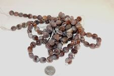 Botswana Agate 12x8mm Puffy Coin Gemstone Beads (7235)