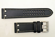 Luminox watch band 1820 1840  Field Black leather 23mm strap with  rivets