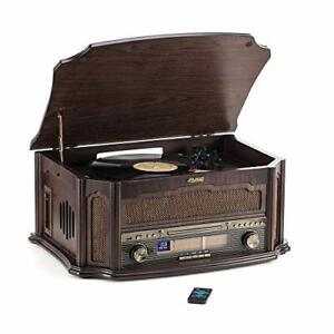 Shuman Classic Wooden Music Centre with Vinyl Record Player, Wireless