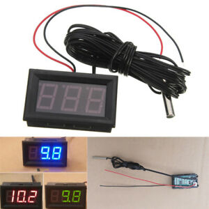 DC 12V Digital Thermometer LED Temperatur Anzeige+Sensor Sonde -50° bis +110°