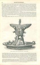 Coupe à Sacrifice de l'empereur Khian-loung de Chine Dessin Féart GRAVURE 1871