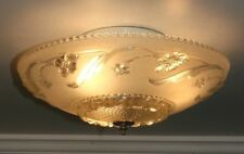 "Antique frosted glass 14"" Art Deco flush mount ceiling light fixture Porcelier"