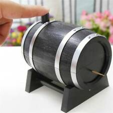 Funny Wine Barrel Shaped Automatic Toothpick Box Holder Kitchen Restaurant Tool