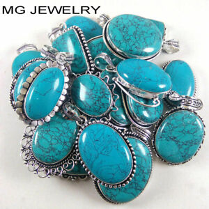 Bulk Sale !! 10 Pcs Turquoise Gemstone Pendants Lot 925 Sterling Silver Plated