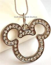 Mickey Mouse Ears Crystal Necklace Silver Plated 17 inches Disney USA Seller