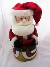 Rustic Country Primitive Set of 3 Round Santa Claus Christmas Stacking Hat Boxes