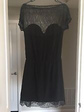 Lulu Yasmine 'Giselle' Lace Silk Crepe  Black Designer Dress Small S 0 2 - BNWT