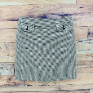 Ann Taylor LOFT Skirt Womens Size 6 Black White Geometric Pocket Accents Zipper