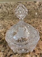 Crystal Hofbauer The Byrdes Collection Owls 3 Footed Lidded Candy Dish Germany