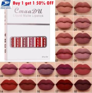 6PCS Set CmaaDU Glitter Flip Liquid Lipstick Matte Waterproof Long Lasting