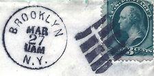 Brooklyn, NY PO Unframed GRID=Classic US Fancy Cancel on Piece+1880s Time-CDS