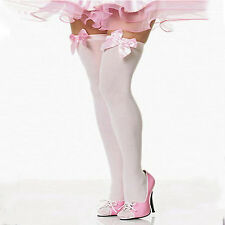 Long WHITE OPAQUE SOCKS Knee/Thigh High with Pink Bows  COSTUME FAST N FREE POST