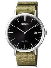CITIZEN Eco-Drive Watch Sapphire Glass Date Power Reserve WR Green fabric strap