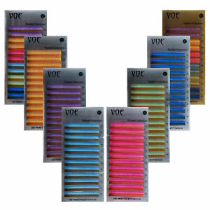 0.05 Silk Rainbow 6 Colors Ombre Lashes Colored Eyelash Extensions