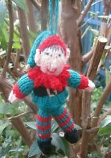 HAND KNITTED XMAS ERIC THE WOODLAND ELF TREE DECORATION? 6 INCHES TALL