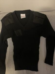 Brigade Quartermasters The Woolly Pully Sweater Black Size 42 Wool
