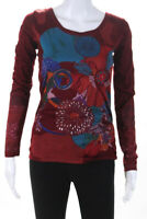 Desigual  Womens Long Sleeve Floral Top Red Blue Size Extra Small