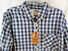 Urban Pipeline Shirt Large L Blue Checked Button Down NWT New Long Sleeves