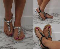 Ladies Womens Flat Diamante Sandals Slingback Embellished Holiday Shoes Sizes