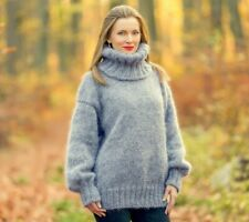 Fuzzy gray mohair sweater turtleneck soft hand knitted thick jumper SuperTanya