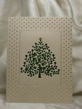 Holiday Seasonal Card Star Christmas Tree Blank Gift Greeting Post Vintage
