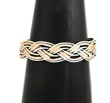 Artisan Copper Brass Silver Hand Woven Cuff from Taxco