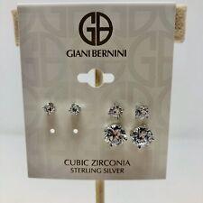 Giani Bernini Womens Cubic Zirconia Stud Earrings in Sterling Silver 3 Pairs