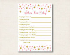 Twinkle Star Pink & Gold Printable Baby Shower Wishes for Baby Advice Cards