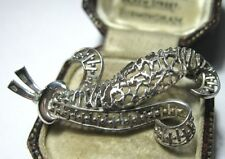 Vintage Jewellery Pretty Sterling Silver Intricate Filigree Feather Pin Brooch