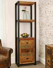 Urban Chic reclaimed indian wood furniture alcove bookcase with drawers