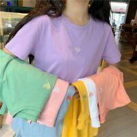 Women Girl Cute T-shirt Tops Heart Shirt Tee Kawaii Tops Harajuku Preppy Casual